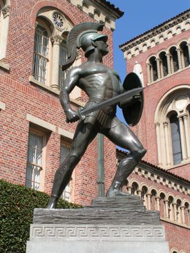 Tommy Trojan. is his name.  Forever young, well that's his game.